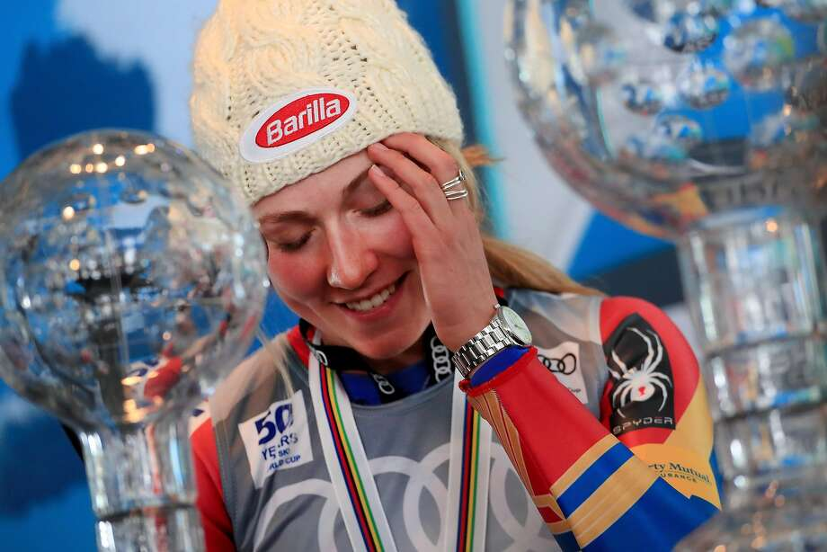 ASPEN, CO - MARCH 19:  Mikaela Shiffrin of United States talks with the media after being awarded the overall season ladies' champion and lasies' season slalom champion at the 2017 Audi FIS Ski World Cup Finals at Aspen Mountain on March 19, 2017 in Aspen, Colorado.  (Photo by Tom Pennington/Getty Images) Photo: Tom Pennington, Getty Images