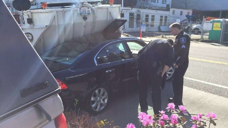 A Sunday-afternoon crash injured only one person with non-threatening injuries. Photo: Photo Courtesy Of KOMO News