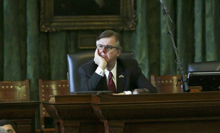 Lt. Gov. Dan Patrick, shown here during a Senate session Feb. 7, 2017, maintains that the state's 'rainy day fund' cannot be tapped for ongoing expenses. Photo: Tom Reel /San Antonio Express-News / 2017 SAN ANTONIO EXPRESS-NEWS