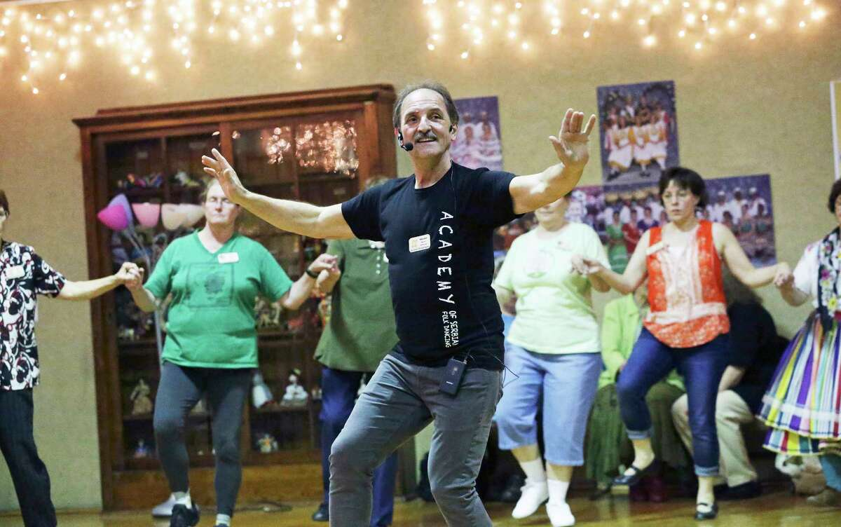 """Miroslav """"Bata"""" Marcetic instructs in Serbian dance as as the 59th annual San Antonio Folk Dance Festival offers ethnic dance workshops at the International Folk Culture Center at Our Lady of the Lake University on March 17, 2017. The festival offers a dance concert Saturday at the Thiry Auditorium on campus."""