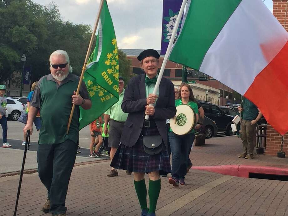 The flags lead the St Patrick's Day Walking Parade in downtown Conroe on Friday March 17. Photo: Submitted Photo