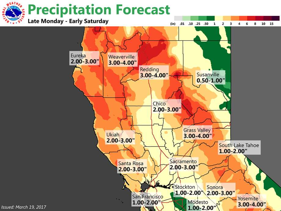 A week of storms is expected to bring several inches of rain to the Bay Area and more rain and snow to other spots around Northern California, starting Monday, March 19. Photo: National Weather Service