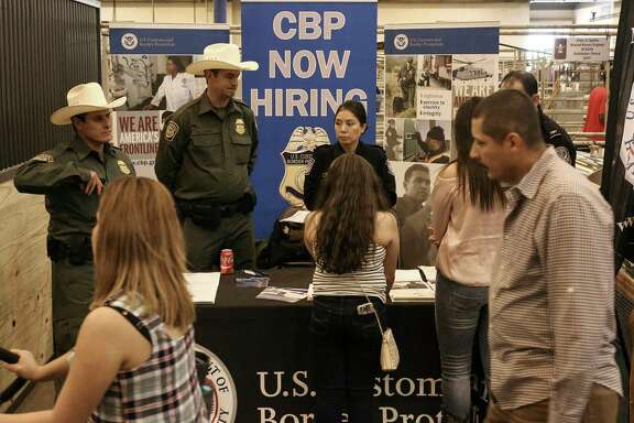 To the chagrin of some, U.S. Customs and Border Patrol recruitment officers were on hand to answer questions Sunday the Houston Livestock Show and Rodeo.