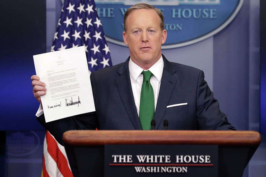 Donald Trump and White House aides, such as press secretary Sean Spicer, have clung to the lie that President Obama wiretapped candidate Trump. This is an example of Trump taking and holding the high ground of epistemology (how we know what we know), so he can control the political landscape. Photo: Chip Somodevilla /Getty Images / 2017 Getty Images