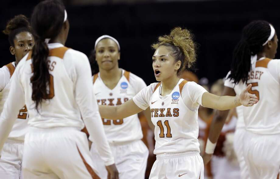 Texas guard Brooke McCarty (11) pulls her teammates together during a second-round game against North Carolina State in the NCAA women's college basketball tournament Sunday, March 19, 2017, in Austin, Texas. (AP Photo/Eric Gay) Photo: Eric Gay/Associated Press