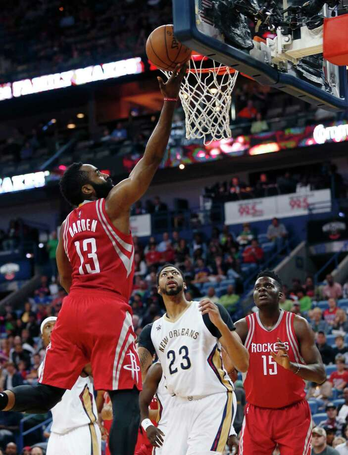 When opponents chase Rockets 3-point shooters away from the arc, the coast is usually clear for layups by James Harden, among others. Photo: Gerald Herbert, STF / Copyright 2017 The Associated Press. All rights reserved.