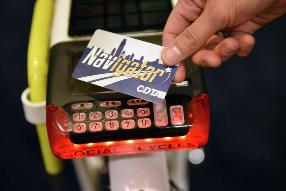 Navigator card and key pad of a Social Bicycle of the type that will be used by CDTA's upcoming bike share program during a news conference Wednesday Dec. 14, 2016 in Albany, NY. The new program will begin this summer,  (John Carl D'Annibale / Times Union) Photo: John Carl D'Annibale / 20039142A