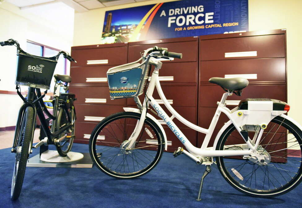 Social Bicycle bikes of the type that will be used by CDTA's upcoming bike share program during a news conference Wednesday Dec. 14, 2016 in Albany, NY. The new program will begin this summer, (John Carl D'Annibale / Times Union)