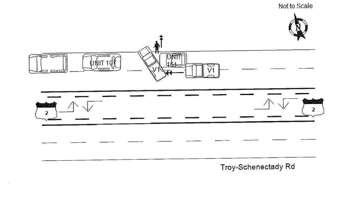 A Colonie accident report illustrates how off-duty Troy police OfficerKevin P. McKenna allegedly crashed into a marked Colonie police van on Route 7 on Saturday, March 18, 2017. McKenna's pick-up truck is identified as V1, the police van as Unit 151 and a Colonie squad car as Unit 107. The stick figure represents a Colonie police officer on foot. (Colonie police)