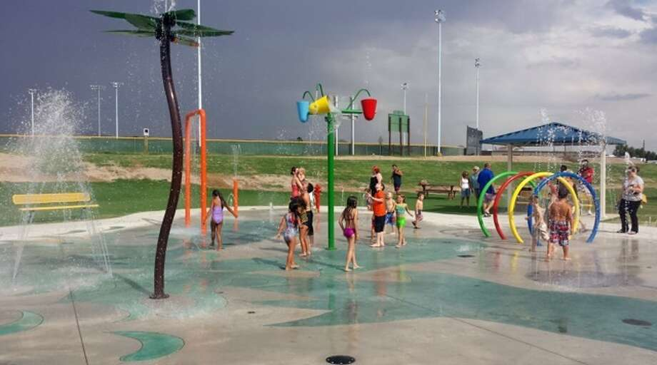 Even though the city of Jasper has not decided on a design for a new summer splash pad, sales representatives at RainDeck said this is an example of a splash pad that falls under the same price range Jasper is looking at. Photo: Photo Provided By RainDeck