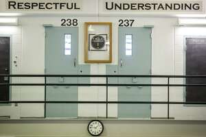 A row of cells in the DOC's new Young Adult Unit at Cheshire Correctional Institution are seen on Monday, March 13, 2017, in Cheshire, Conn. Connecticut has opened a new unit at the Cheshire Correctional Institution to house 18- to 25-year-olds. It's part of Dannel P. Malloy's goal of preventing young adults who've committed nonviolent crimes from becoming career criminals. (Lauren Schneiderman/Hartford Courant via AP)