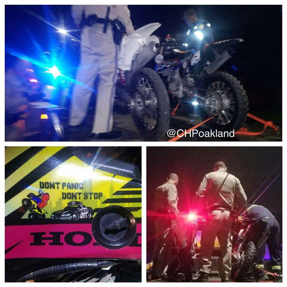The CHP in Oakland busted up a gang of more than 30 dirt bikers and all-terrain vehicle riders on the Bay Bridge on Sunday. Photo: California Highway Patrol / /