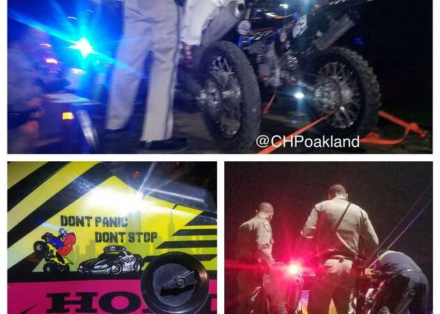 CHP reviewing video of Bay Bridge dirt biker mob stunt