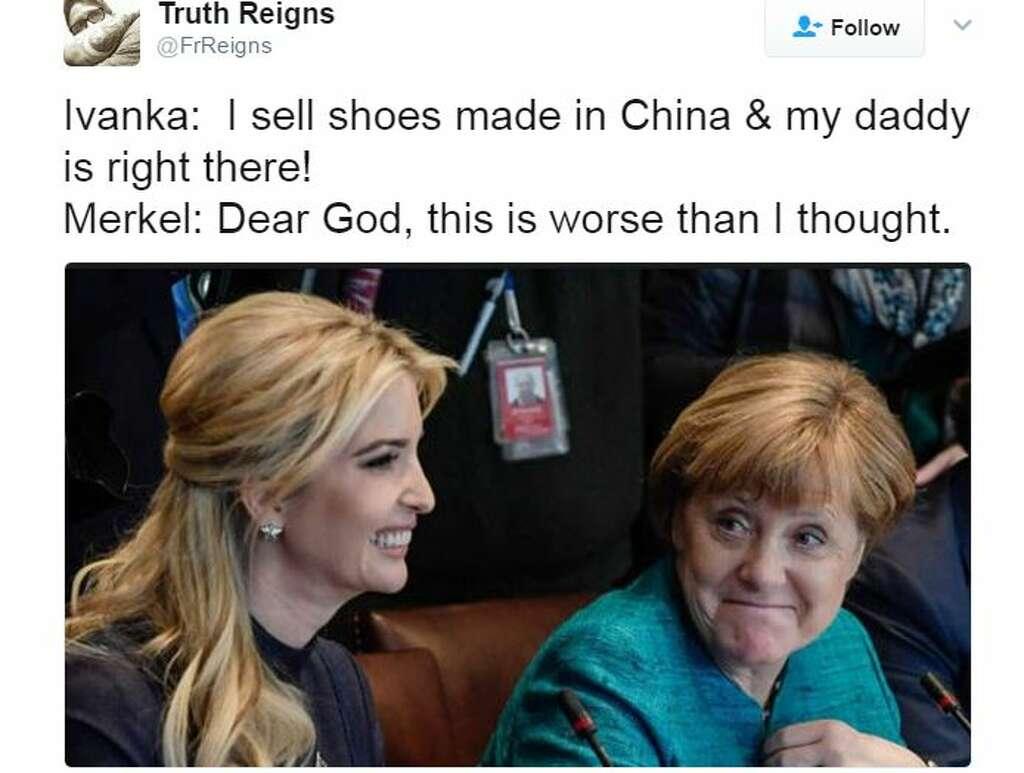 Photos of Ivanka Trump and German Chancellor Angela Merkel widely