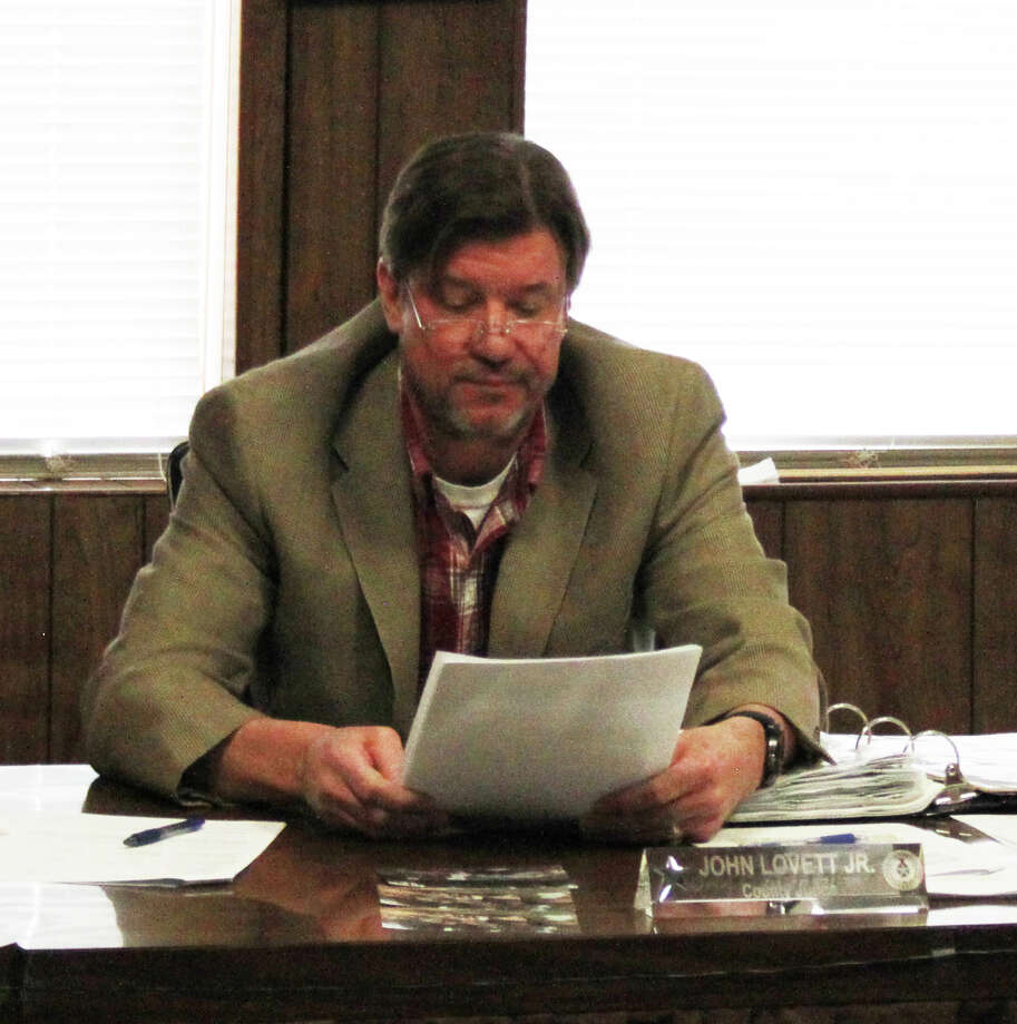 San Jacinto County Judge John Lovett responds to the decision to give up office space during the March 17 meeting. Photo: Jacob McAdams