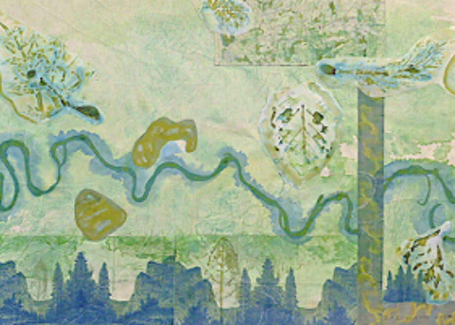 """A detail of Liz Ward's watercolor/collage """"The Falls of Peckagama."""" Photo: Courtesy Of The Artist, Moody Gallery"""