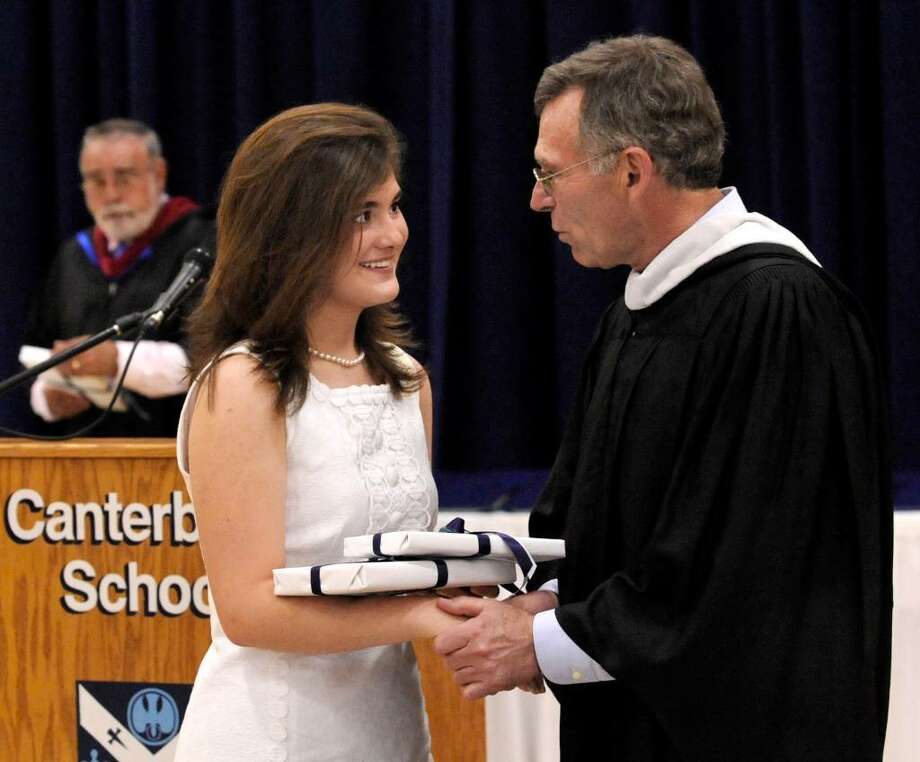 Sarah Heberlig receives the valedictorian award from Headmaster Thomas Sheehy III, during graduation exercises at Canterbury School in New Milford on Tuesday, June 1, 2010. Photo: Michael Duffy / The News-Times