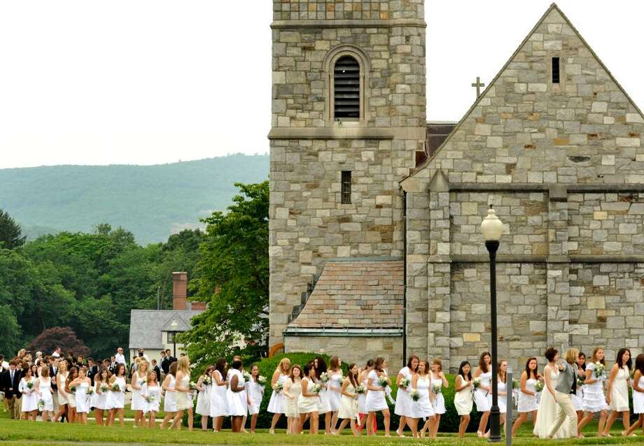 Graduating students walk from the chapel to the fieldhouse during graduation exercises at Canterbury School in New Milford on Tuesday, June 1, 2010. Photo: Michael Duffy / The News-Times