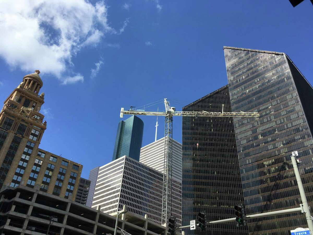 A construction crane has been erected at the site of Skanska USA's Capitol Tower project. The company plans to build a 750,000-square-foot office building at 800 Capitol in downtown Houston.