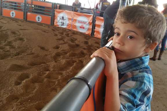 Ezra wasn't crying after signing up for Mutton Bustin. He had something in his eye.