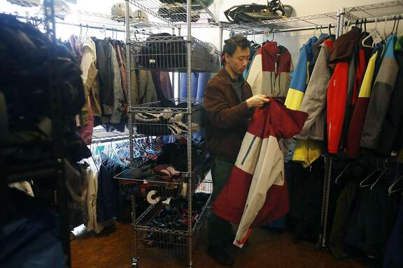 James Dong, owner Last Minute Gear, organizes some items for rent  at the Last Minute Gear office showroom on Monday, March 20, 2017 in San Francisco, Calif.
