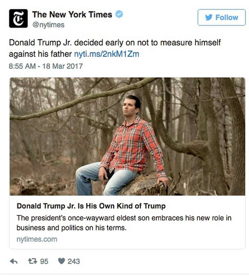 Twitter had some interesting responses to a New York Times photo showing Donald Trump Jr. in the great outdoors. Photo: Twitter