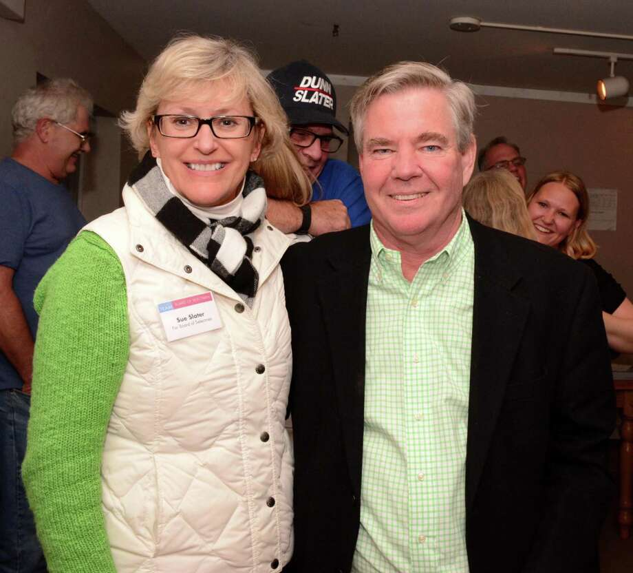 Sue Slater, Democratic candidate for Selectman Brookfield and Steve Dunn, Democratic candidate for First Selectman Brookfield at the headquaters after the numbers come in on election night Tuesday, Nov. 4, 2015. Photo: Lisa Weir / For The Newstimes / The News-Times Freelance