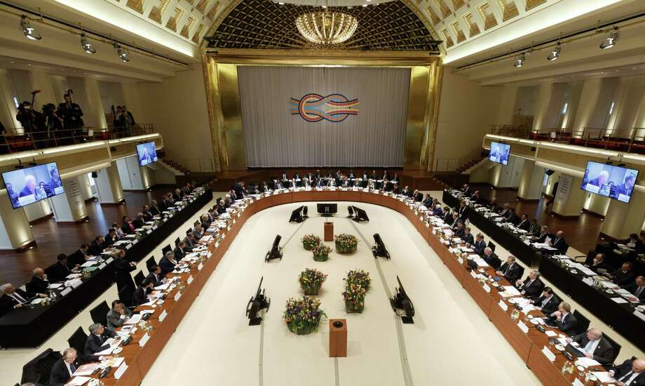 """Members of the G-20 meet in Baden Baden, Germany. As recently as last July, the G-20 had promised to """"resist all forms of protectionism,"""" a pledge absent in the communique after the meeting this weekend. Photo: Ronald Wittek /Getty Images / 2017 Getty Images"""