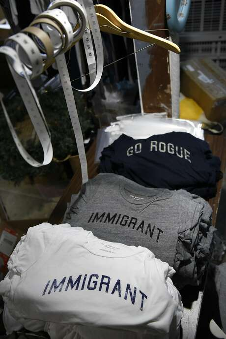 Politically themed T-shirts are seen at the offices of social aware clothing maker Road Twenty-Two, in San Francisco. Photo: Michael Short, Special To The Chronicle