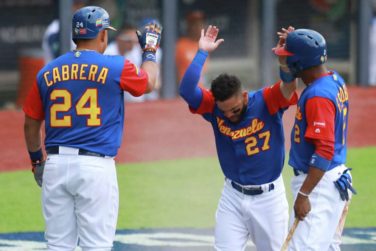 ZAPOPAN, MEXICO - MARCH 11: Jose Altuve #27 of Venezuela celebrates after scoring in the top of the fifth inning during the World Baseball Classic Pool D Game 3 between Venezuela and Italy at Panamericano Stadium on March 11, 2017 in Zapopan, Mexico.