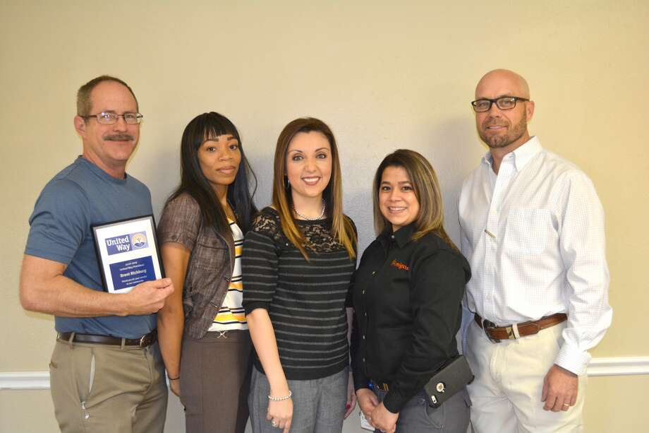 Outgoing President Brent Richburg (left) and incoming President Matt Kelley (right) along with new board members Deidra Redmond, Wayland Baptist University; Jessica O'Canas, Wells Fargo Bank; and Rebecca Bernal, Amigos, were recognized Monday at the Plainview Area United Way's semi-annual board meeting. The 2016-17 campaign once again exceeded its goal, which was $300,000, with a final tally from contributions and other income of $301,809.92. Plainview Police Chief Ken Coughlin is 2017-18 campaign chair.
