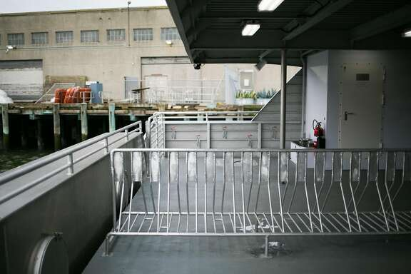 A bike rack is seen on the Hydrus, the first of seven new vessels to join the SF Bay Ferry fleet, in San Francisco, Calif. Monday, March 20, 2017.