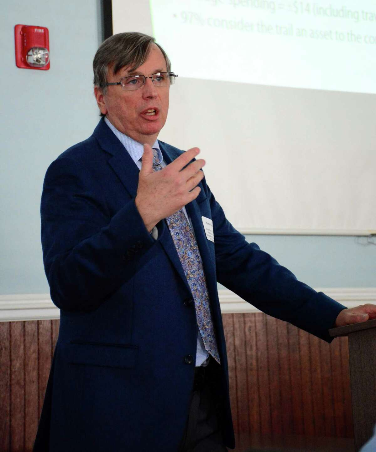 Mark Nielson, Assistant Director of Naugatuck Valley Council of Government, speaks during a discussion that was held at the New Milford Town Hall on Monday, March 20, 2017 about future trail growth in Western Connecticut.