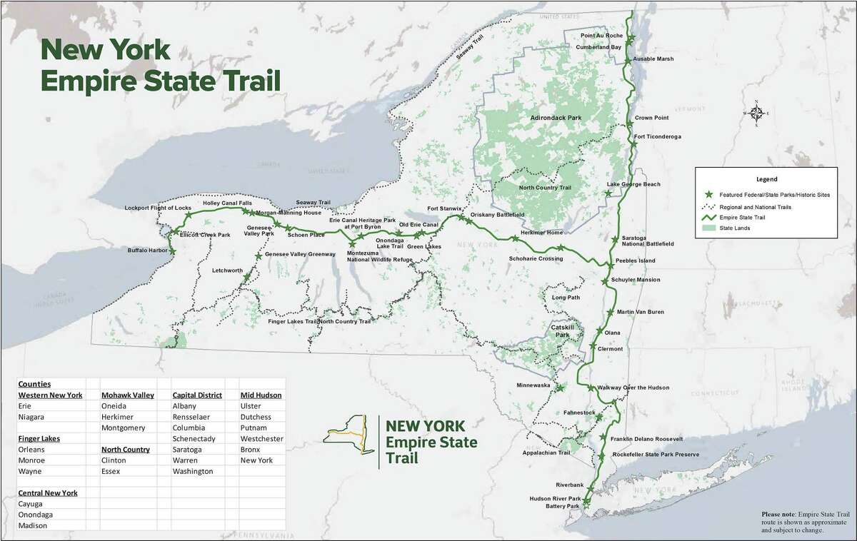 The proposed Empire State Trail, a 750-mile multi-use trail pitched by Gov. Andrew Cuomo in his executive budget.