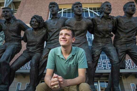 Texas A&M's newly-elected student body president Bobby Brooks, a junior from Belton, Texas, poses for a portrait in front of the War Hymn Monument on Monday, March 20, 2017, in Houston.