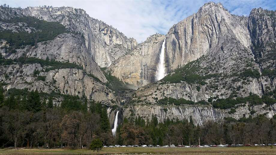 File photo: Multi-tiered Yosemite Falls, recharged by rain and snowmelt, and photographed this week here from Sentinel Meadow, is one of several waterfalls that has turned Yosemite Valley into the showpiece of the world. Photo: Courtesy National Park Service