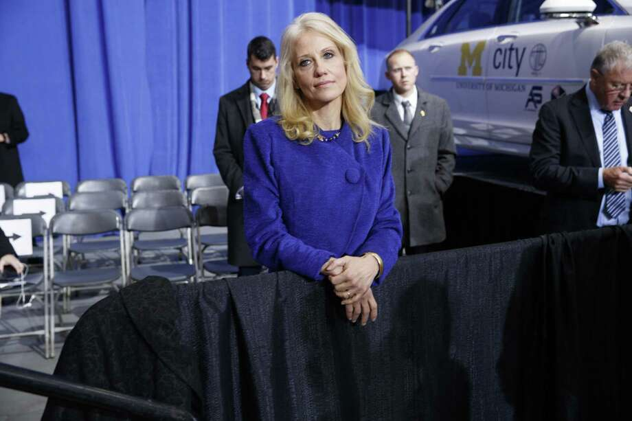 A reader, considering recent remarks on wiretapping by Kellyanne Conway, a senior adviser to President Donald Trump, ponders a new way to write her surname. Photo: Evan Vucci /Associated Press / Copyright 2017 The Associated Press. All rights reserved.
