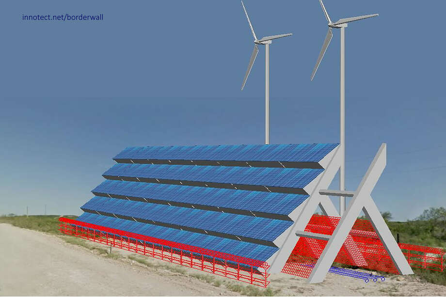 A wind and solar border wall concept Photo: Kevin Diaz, Architect Vijay Duggal