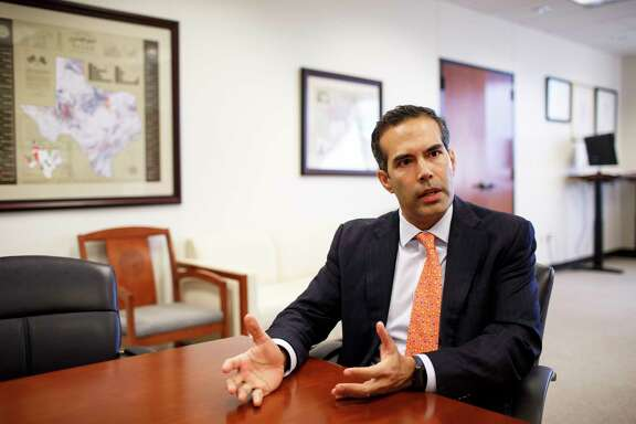 Texas Land Commisioner, George P. Bush, speaking in his office in Austin at 1700 Congress Ave. on Jan. 27, 2017.