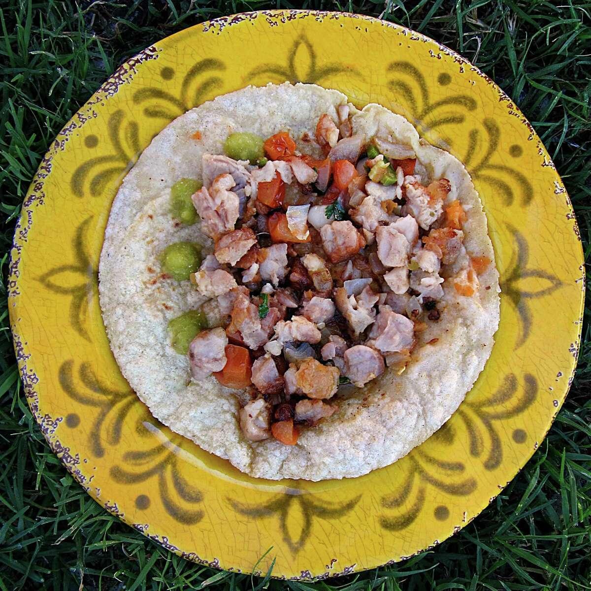 Mollejas (sweetbreads) taco on a handmade corn tortilla from Mittman Fine Foods.