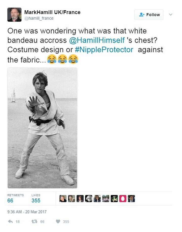 MarkHamill UK/France‏  @hamill_france  One was wondering what was that white bandeau accross @HamillHimself 's chest? Costume design or #NippleProtector  against the fabric.. Photo: Twitter Screen Shots