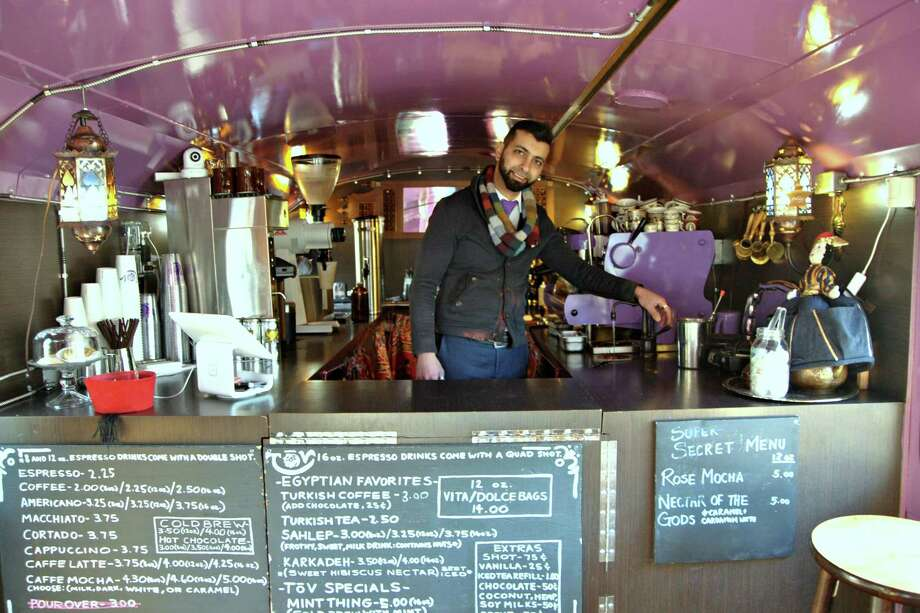 Portland is chock full of coffee shops, including ToV Coffee & Tea, located in a double-decker bus. Owner Joe Nazir serves up Egyptian and Turkish coffee along with teas and espresso drinks. (Gretchen McKay/Pittsburgh Post-Gazette/TNS) Photo: Gretchen McKay, MBR / Pittsburgh Post-Gazette