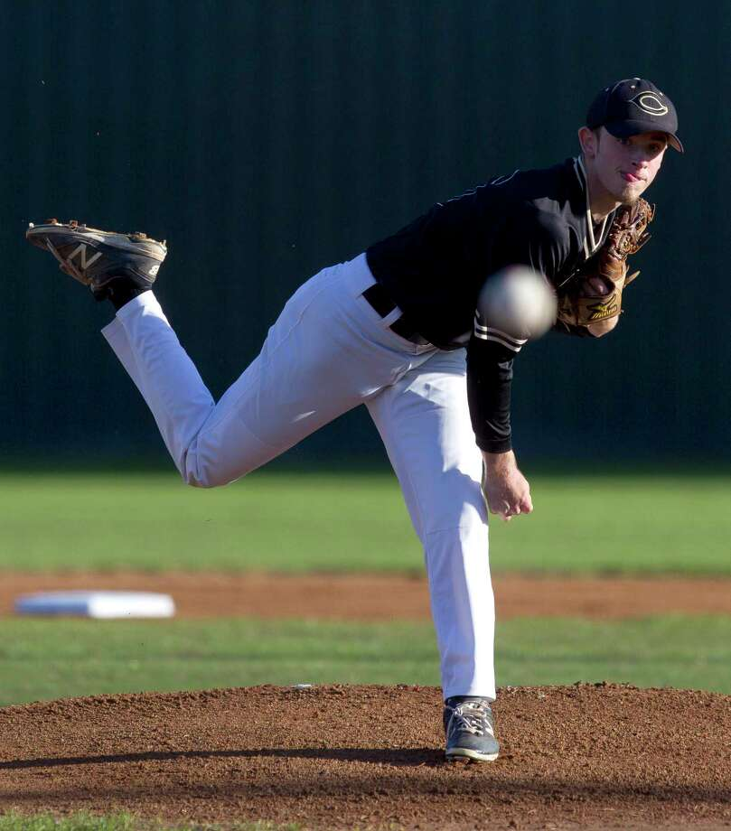 Conroe starting pitcher Marshall Prether (16) throws during the first inning of a District 12-6A high school baseball game at Elmore Field on Tuesday, March 14, 2017, in Conroe. Photo: Jason Fochtman, Staff Photographer / © 2017 Houston Chronicle