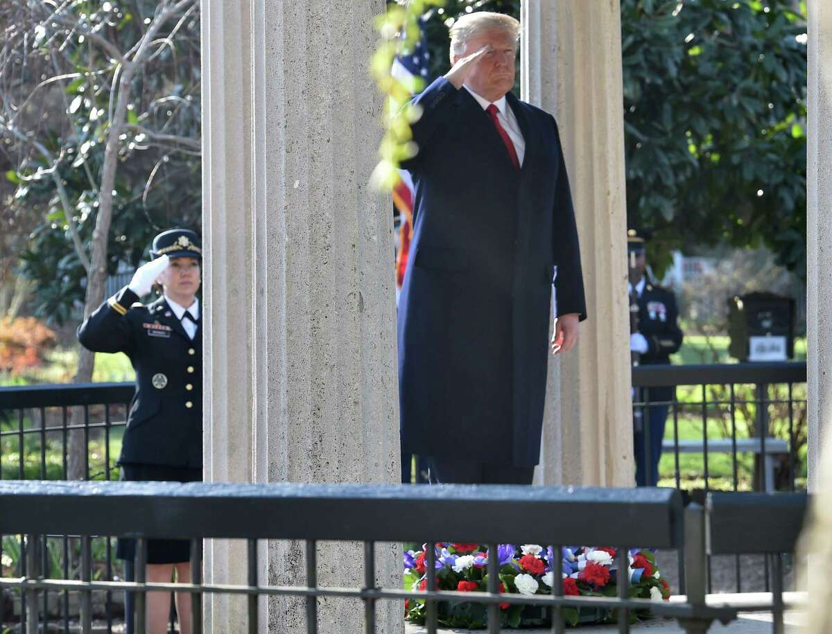President Donald Trump salutes after laying a wreath at the tomb of former President Andrew Jackson. Jackson was badly wrong on the largest issue of his time: the dignity of people of color.