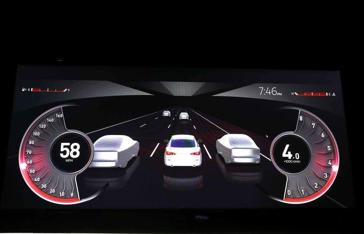 The dashboard view in an autonomous vehicle when the driver switches off the computer takes over they would see this, during a demonstration at the headquarters of Nvidia in Santa Clara, Ca., as seen on Mon. March 20, 2017.