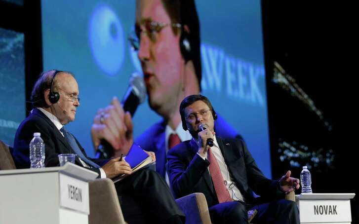 Daniel Yergin, left, chairman of CERAWeek, talks this month with Alexander Novak, Russia's oil minister. Novak will be at a meeting this weekend in Kuwait about cuts in oil output.