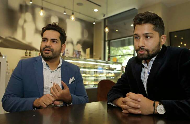 Timur Daudpota, left, and Hamza Amir, right, co-founders of Blurbiz, talk about their company, Friday, March 17, 2017, in Houston. ( Melissa Phillip / Houston Chronicle )