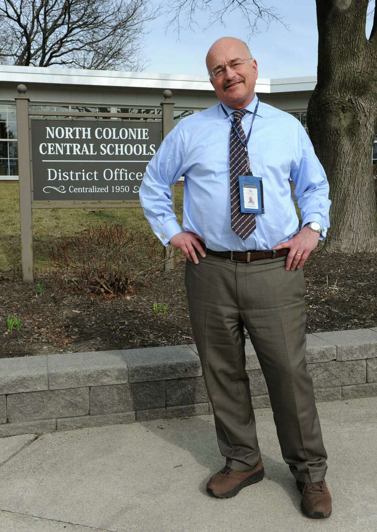North Colonie School District Superintendent Joseph Corr stands outside his office on Wednesday, March 16, 2016 in Colonie, N.Y. (Lori Van Buren / Times Union)