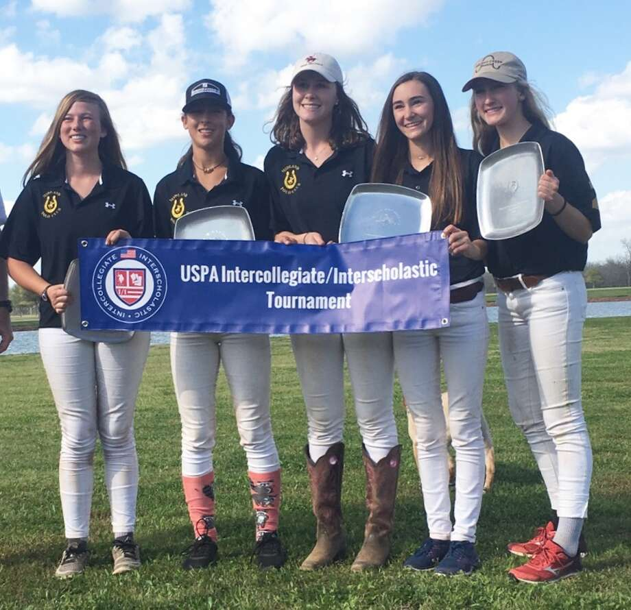The Midland Interscholastic Girls Polo Team holds a banner and plates after winning the Central Interscholastic Regional Tournament in Brookshire on Sunday. From left to right, Avery Evans, April Galindo, Audrey Scott, Madison Lange and Hollis Hightower. Courtesy Photo