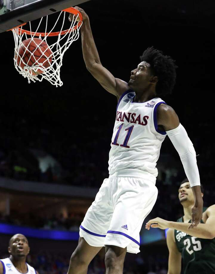 Josh Jackson is back in action for Kansas in the NCAA Tournament after serving a one-game suspension. Photo: Ronald Martinez, Staff / 2017 Getty Images